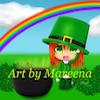 Leprechaun Girl in Green Hat Beneath Rainbow