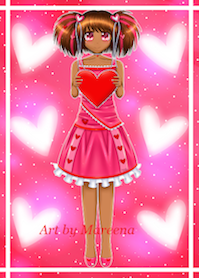 Valentine Day Girl African American Web Version III