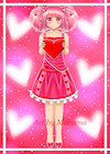 Pink Hair Girl Holding Valentine Heart