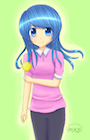 Girl Holding Yellow Lollipop Has Blue Hair