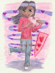 Valentine Girl One Leg Standing I