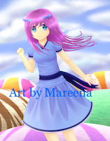Anime Girl in Blue Dress Above Scoops of Sherbet II