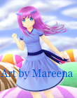 Anime Girl in Blue Dress Above Scoops of Sherbet