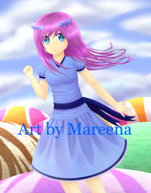 Anime Girl in Blue Dress Above Scoops of Sherbet III
